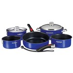 Magma Nesting 10-Piece Induction Compatible Cookware - Slate Black Ceramica Non-Stick Interior - Cobalt Blue Exterior