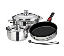 Cookware magma 7 piece professional series gourmet nesting stainless steel cookware set